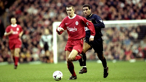 Dominic Matteo in action for Liverpool in 1999