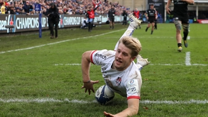 Rob Lyttle of Ulster dives in for a try