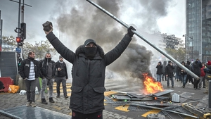 The demonstration was held to mark one year of yellow vest protests