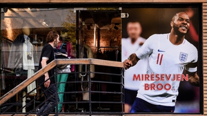A banner in Kosovo picturing England's Raheem Sterling reads 'Welcome Bro'