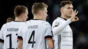 Leon Goretzka of Germany celebrates 2-0 with Matthias Ginter