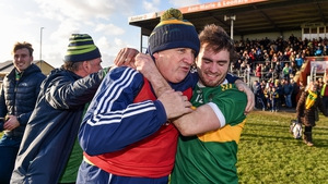 Clonmel Commercials manager Charlie McGeever celebrates with Ross Peters
