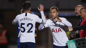 Parrott made his Spurs debut against Colchester in the League Cup