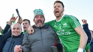 Jack Kavanagh of St Mullins celebrates with supporters after their win
