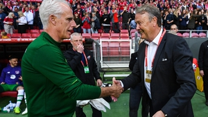 Mick McCarthy (L) and Age Hareide before the 1-1 draw in Denmark