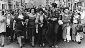 Derry women protesting in September 1976. Photo: Michel Artault Gamma-Rapho via Getty Images