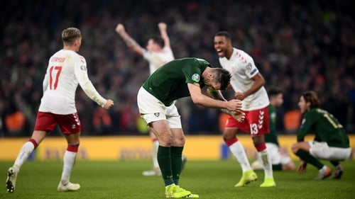 Shane Duffy reacts at the full-time whistle following the 1-1 draw with Denmark