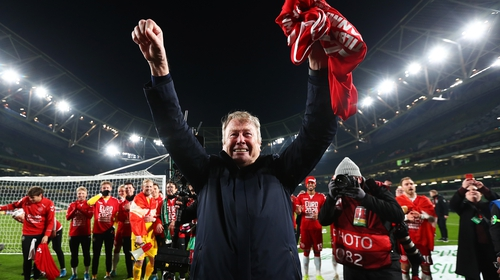 Age Hareide celebrates Denmark's Euro 2020 qualification at Aviva stadium
