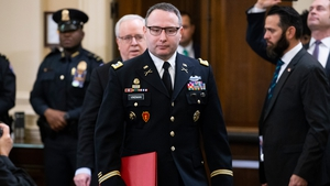 US Army Lieutenant Colonel Alexander Vindman arrives to testify at the impeachment inquiry
