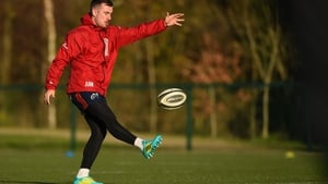 Hanrahan (pictured at training today) missed the win over Ospreys with a hamstring problem