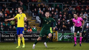 Lee O'Connor celebrates Ireland's equaliser