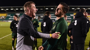Irel;and Under-21 manager Stephen Kenny and Zack Elbouzedi after the 4-1 victory over Sweden