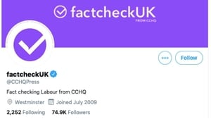 The Conservative Campaign Headquarters press office account was renamed during the debate