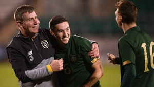 Republic of Ireland manager Stephen Kenny and Conor Coventry celebrate a fine win over Sweden