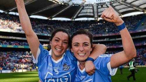 Dublin's Sinéad Goldrick and Niamh McEvoy celebrate victory over Mayo in the 2017 TG4 Ladies Football All-Irelandfinalat Croke Park. Photo: Cody Glenn/ Sportsfile