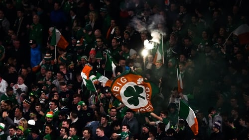 Republic of Ireland supporters in full cry against Denmark