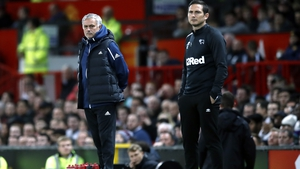 Jose Mourinho (L) and Frank Lampard on the touchline as managers of Manchester United and Derby County respectively last year