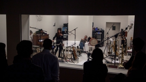 PJ Harvey and band at work in Somerset House in London