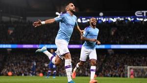 Riyad Mahrez celebrates after he scores against Chelsea