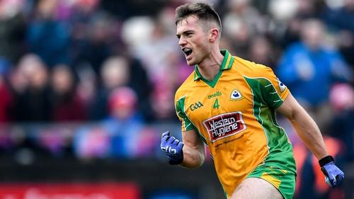 Liam Silke celebrates his goal against Padraig Pearses