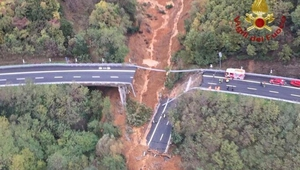 The motorway bridge is located just outside Savona on the A6 highway (Pics: Vigili del Fuoco)