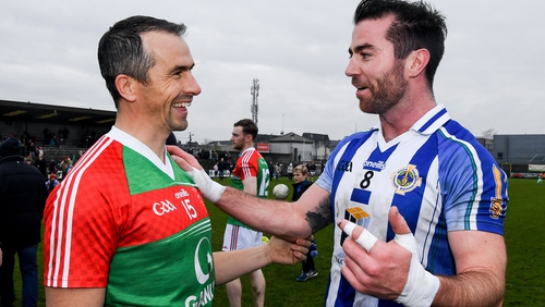 Michael Darragh Macauley (r) with Dessie Dolan, who played his last game for Garrycastle against Ballyboden