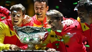 The Spanish team celebrate with the trophy