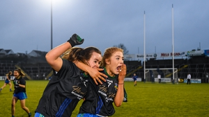 Emer Nally (L) and Ffion Boland of Naomh Ciaran celebrate at the full-time whistle