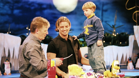 Pat Kenny with Keith and Jordan Duffy on 'The Late Late Toy Show' (1999)