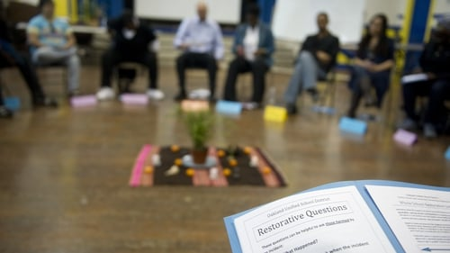 """A restorative justice training session at a school inCalifornia: """"research indicates that this can reduce reoffending and help victims recover from crime"""". Photo: Ann Hermes/The Christian Science Monitor via Getty Images"""
