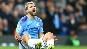 Sergio Aguero departed the pitch with a thigh injury in Manchester City's win over Chelsea