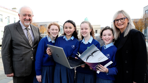RTÉ Director General Dee Forbes (R) with students at the launch. Photo: Maxwell Photography