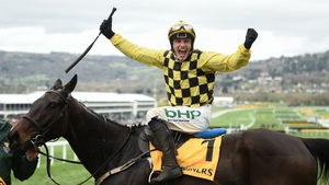 Paul Townend celebrates aboard Al Boum Photo after the Cheltenham Gold Cup victory in March