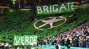 Celtic's 'Green Brigade' during the match against Lazio