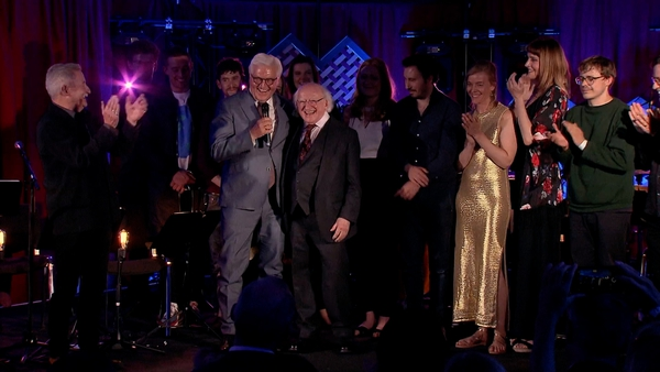 Germany H.E. President Frank-Walter Steinmeier and President Michael D. Higgins take the stage at Other Voices Berlin