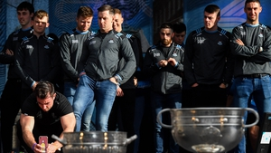 Dublin players with the Leinster and All-Ireland prizes