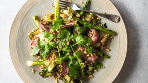 Steak with Blistered Summer Vegetables
