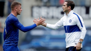 Ross Barkley (L) and Chelsea manager Frank Lampard