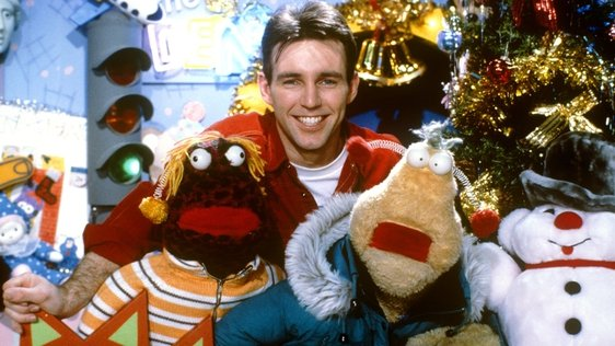 Broadcaster Ray D'Arcy with Zig and Zag in a Christmas publicity shot taken for the RTÉ Television Young People's show 'The Den'   circa 1995.