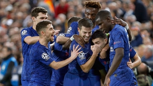 Mateo Kovacic is mobbed by his Chelsea team-mates after cancelling out Valencia's opener