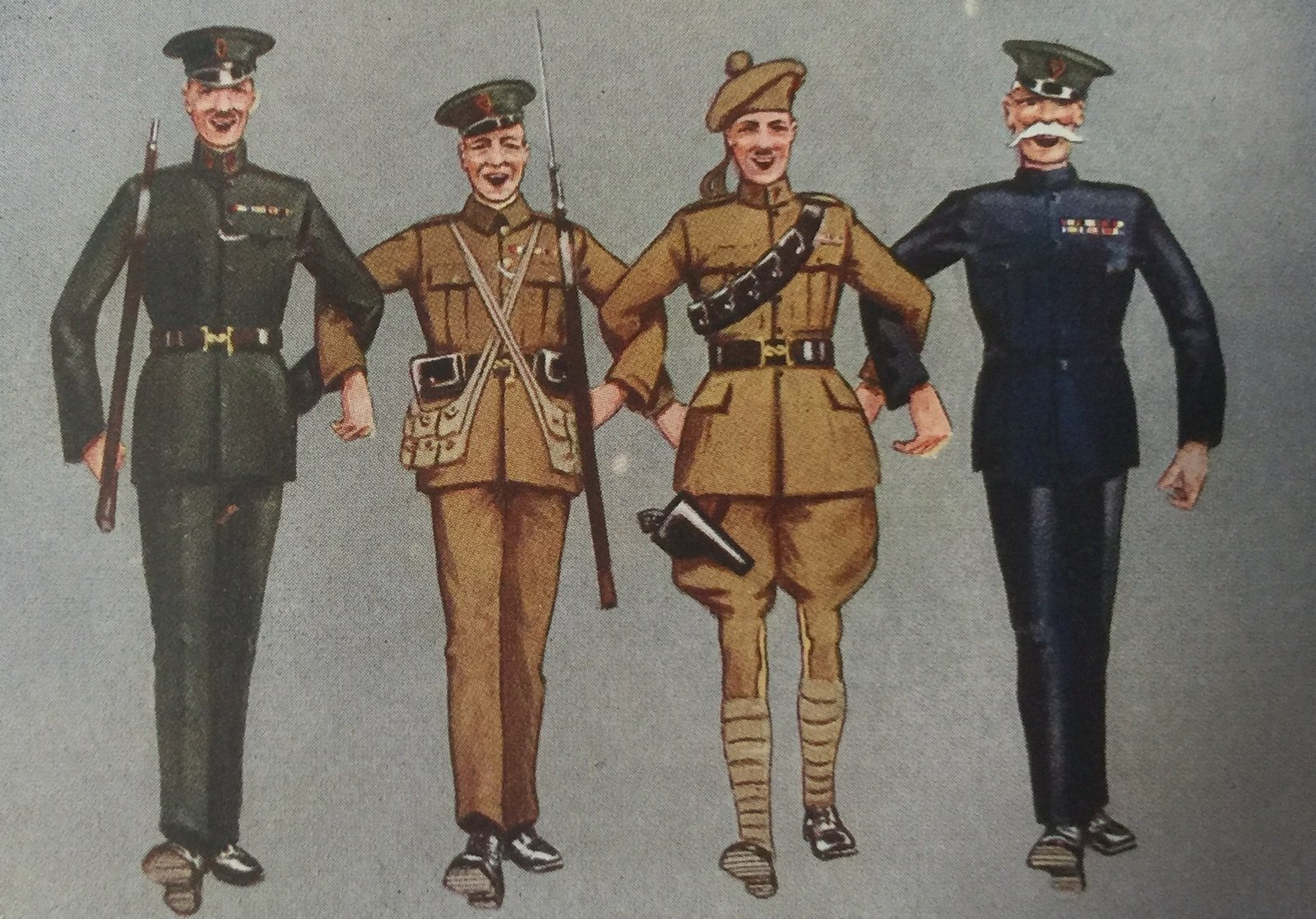 Image - This 1920 RIC propaganda Christmas card shows (from left) an RIC man, a Black and Tan, an Auxiliary and an army veteran