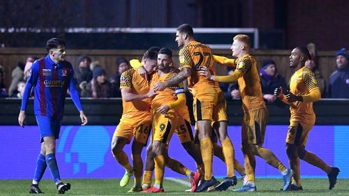 Padraig Amond receives the congratulations from his team-mates