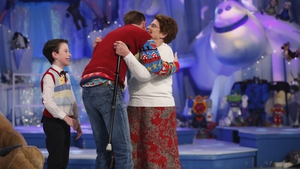 Nanny Pat, her grandson Tom Cullen and Ryan Tubridy on The Late Late Toy Show