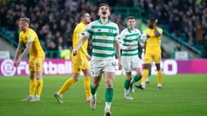 James Forrest celebrates finding the net in the recent league game against Livingston