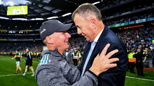 Jim Gavin embraces Dublin CEO John Costello after the 2019 All-Ireland final replay