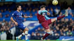 Chelsea's Pedro (left) and West Ham United's Aaron Cresswell