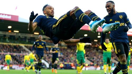 Arsenal's Pierre-Emerick Aubameyang celebrates