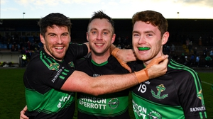 Barry O'Driscoll (l), Paul Kerrigan, (c), and Ciaran Dalton celebrate at the end