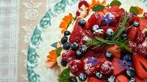 Catherine Fulvio's Hazelnut Meringue with Summer Berries from Tastes Like Home.