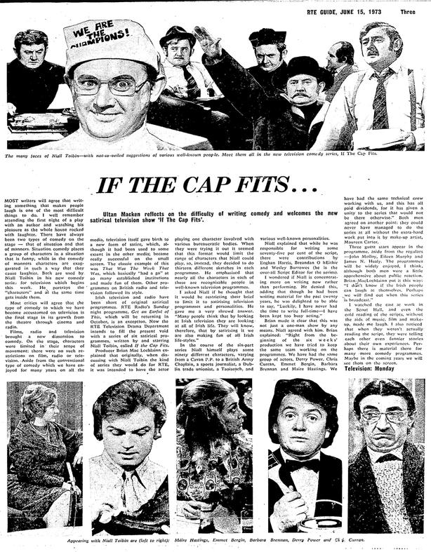 RTÉ Guide 15 June 1973 - If The Cap Fits